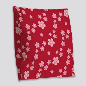 Cherry Blossoms Red Pattern Burlap Throw Pillow
