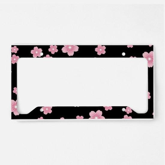 Cherry Blossoms Black Pattern License Plate Holder