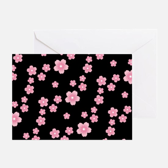Cherry Blossoms Black Pattern Greeting Cards