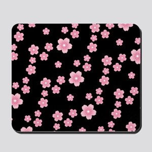 Cherry Blossoms Black Pattern Mousepad