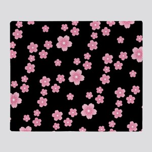 Cherry Blossoms Black Pattern Throw Blanket