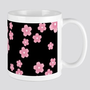 Cherry Blossoms Black Pattern Mugs