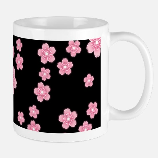 Cherry Blossoms Black Pattern Mugs