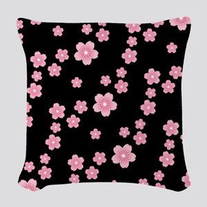Cherry Blossoms Black Pattern Woven Throw Pillow