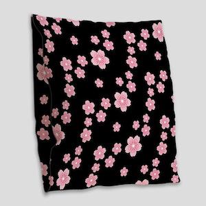 Cherry Blossoms Black Pattern Burlap Throw Pillow