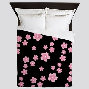 Cherry Blossoms Black Pattern Queen Duvet
