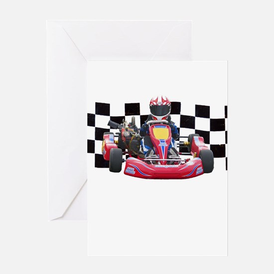 Kart Racer with Checkered Flag Greeting Cards