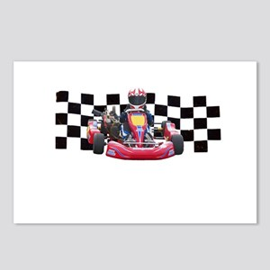Kart Racer with Checkered Flag Postcards (Package