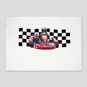 Kart Racer with Checkered Flag 5'x7'Area Rug