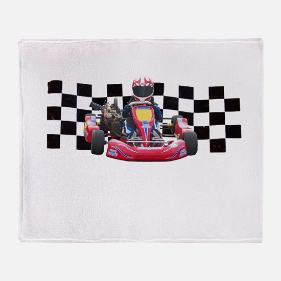 Kart Racer with Checkered Flag Throw Blanket