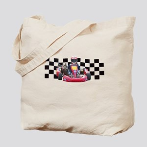 Kart Racer with Checkered Flag Tote Bag