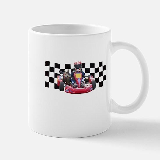 Kart Racer with Checkered Flag Mugs