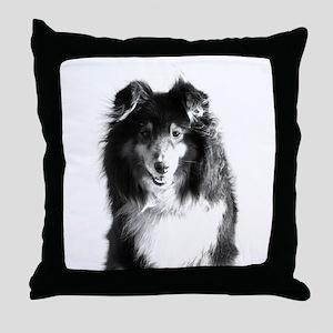 sheltie01bw Throw Pillow