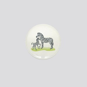Mommy and Baby Zebra Mini Button