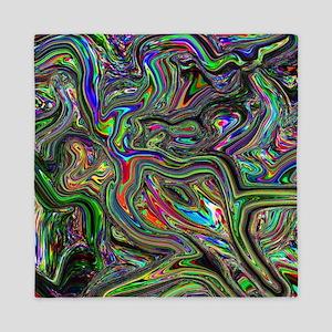 Psychedelic colors melt  Queen Duvet
