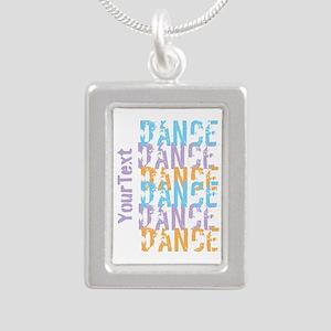 DANCE Optional Text Silver Portrait Necklace
