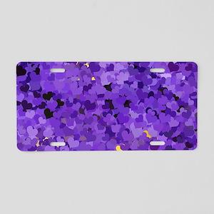 Purple Confetti Hearts Aluminum License Plate