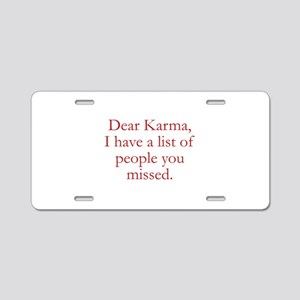 Dear Karma Aluminum License Plate