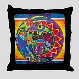 Mexican Sun and Moon Throw Pillow