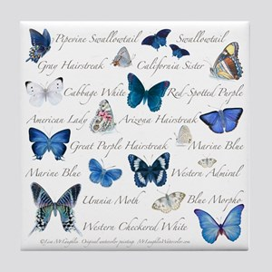 Blue Butterflies Tile Coaster