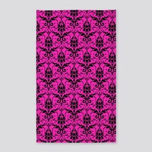 Pink Damask 3'x5' Area Rug