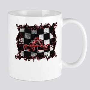 Red Racer framed with Checkered Flag Mugs