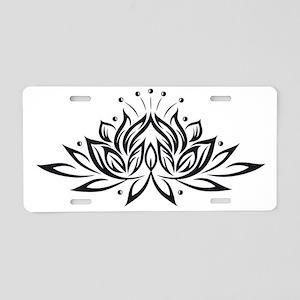 Black & White Lotus Design Aluminum License Plate