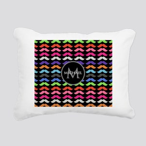 Girly Colorful Mustache Pattern Monogram Rectangul