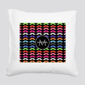 Girly Colorful Mustache Pattern Monogram Square Ca