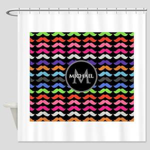Girly Colorful Mustache Pattern Monogram Shower Cu