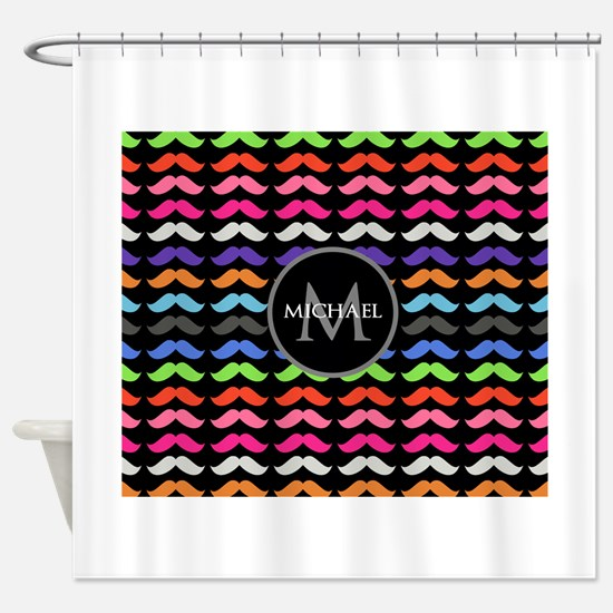 Girly Colorful Mustache Pattern Monogram Shower Cu