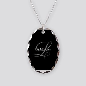 Elegant Black Monogram Necklace Oval Charm