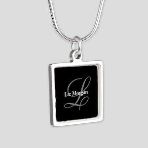 Elegant Black Monogram Silver Square Necklace