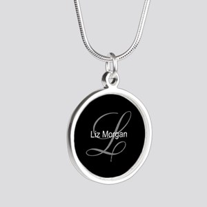 Elegant Black Monogram Silver Round Necklace
