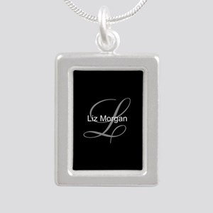 Elegant Black Monogram Silver Portrait Necklace