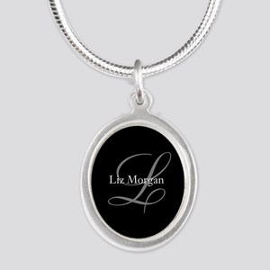 Elegant Black Monogram Silver Oval Necklace