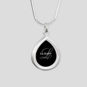 Elegant Black Monogram Silver Teardrop Necklace