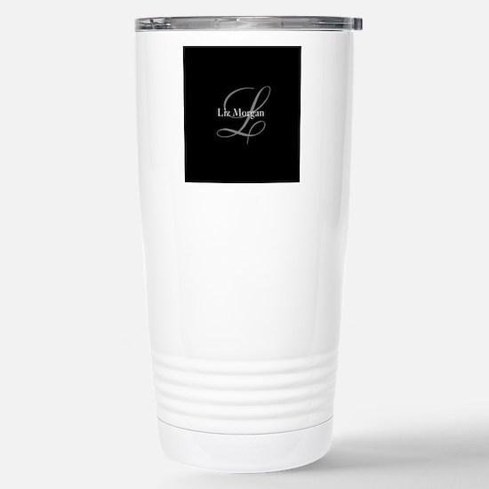 Elegant Black Monogram Stainless Steel Travel Mug