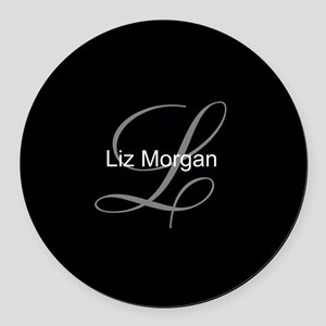 Elegant Black Monogram Round Car Magnet