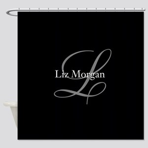 Elegant Black Monogram Shower Curtain
