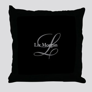 Elegant Black Monogram Throw Pillow