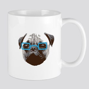 Cute Hipster Pug with Blue Glasses Mugs