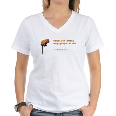 Golden Lion Tamarin Women's V-Neck T-Shirt