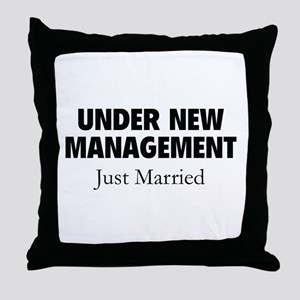 Under New Management. Just Married. Throw Pillow