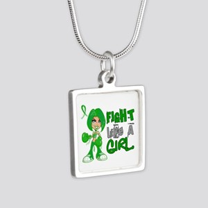 Licensed Fight Like a Girl Silver Square Necklace