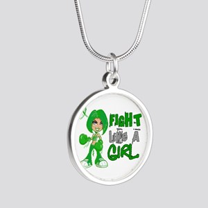 Licensed Fight Like a Girl 4 Silver Round Necklace