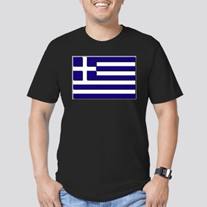 Flag of Greece NO Txt Men's Fitted T-Shirt (dark)