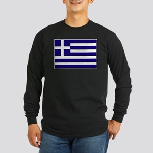 Flag of Greece NO Txt Long Sleeve Dark T-Shirt