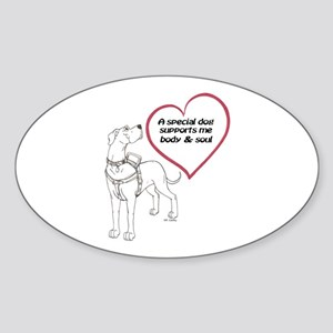 Heart Dog Support Oval Sticker