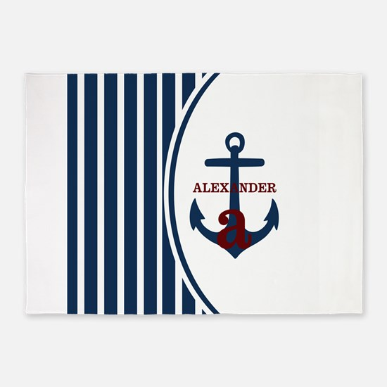 Anchor and Stripes Monogram 5'x7'Area Rug